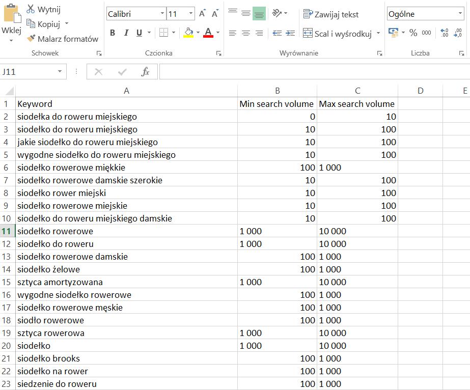adwords propozycje słów kluczowych excel