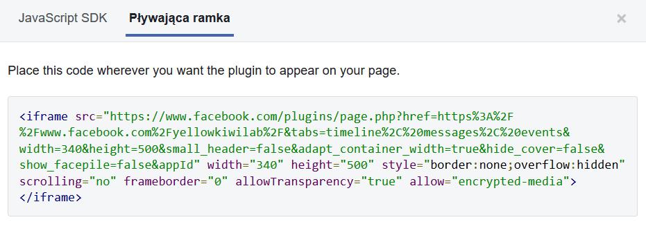 facebook page widget code html