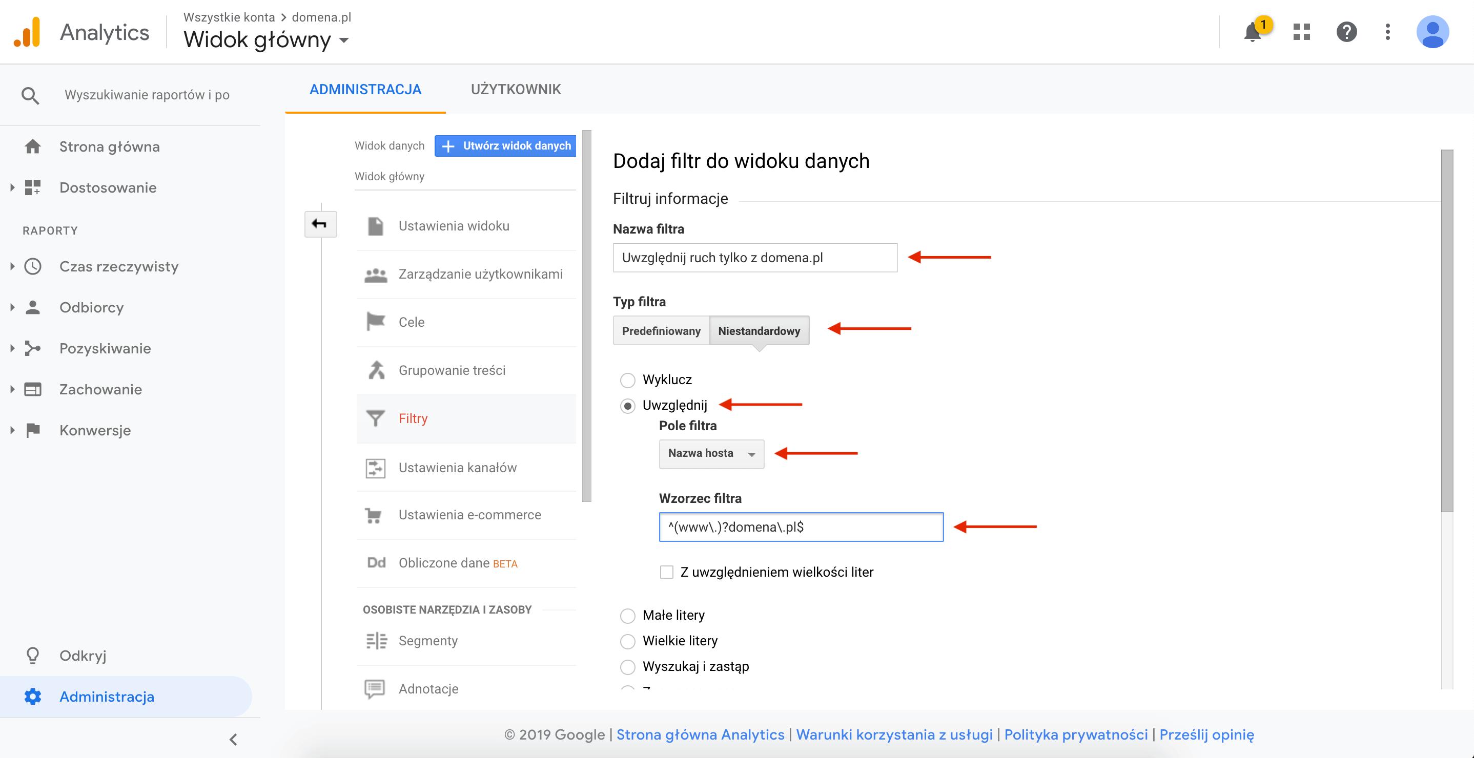 Google Analytics - filtr uwzględnij nazwę hosta