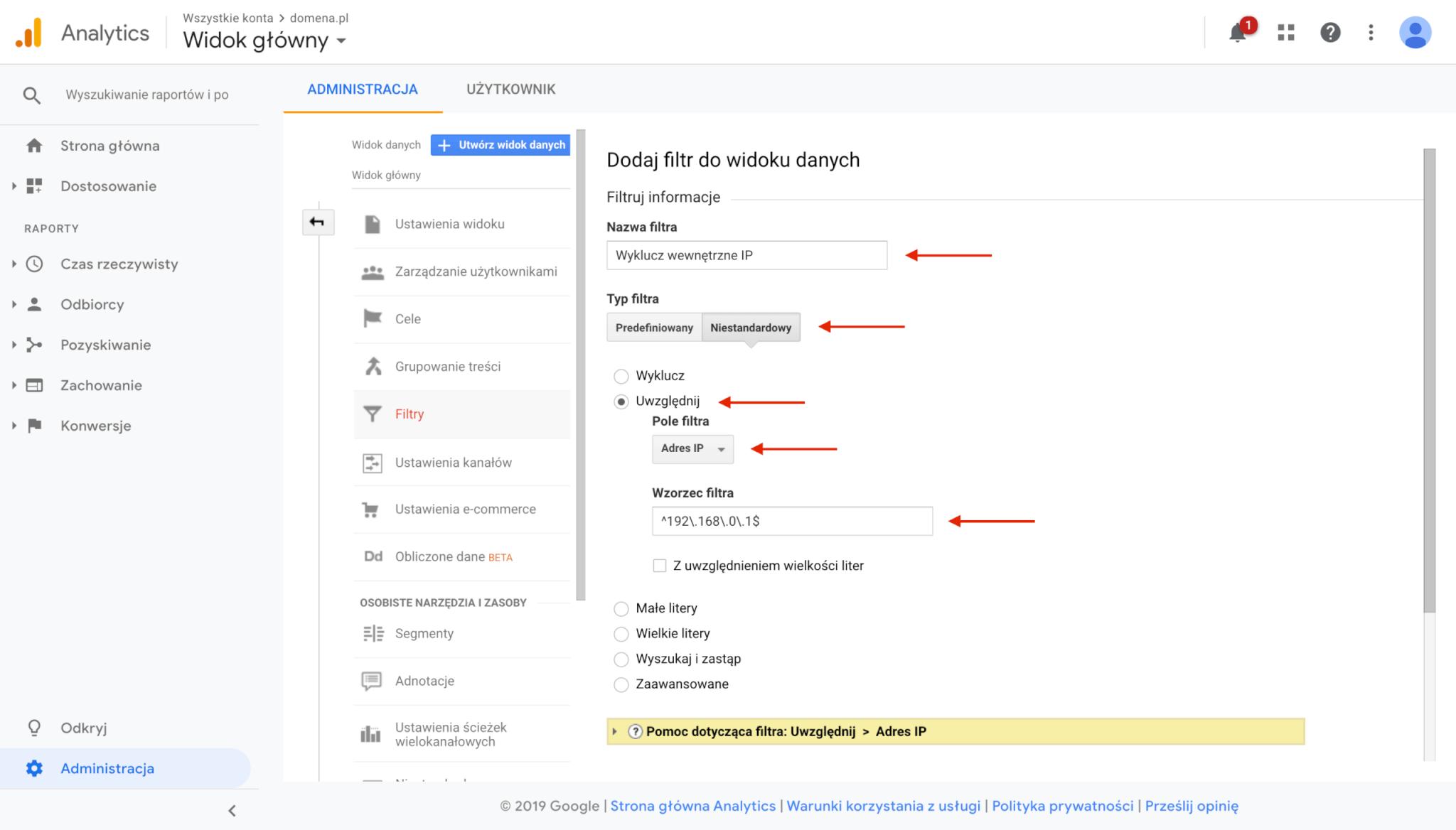 Google Analytics - filtr wykluczający ruch wewnętrzny (adres IP)